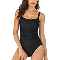 Shuangyu Women's Vintage One Piece Swimsuits Tummy Control Bathing Suits Swimsuits for Women with Ruching