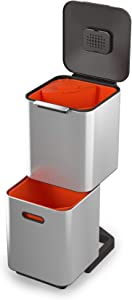 Joseph Joseph 30063 Intelligent Waste Totem Compact Kitchen Trash Can and Recycle Bin Unit with Compost Bin, 40 Liter / 10.6 Gallon, Stainless Steel