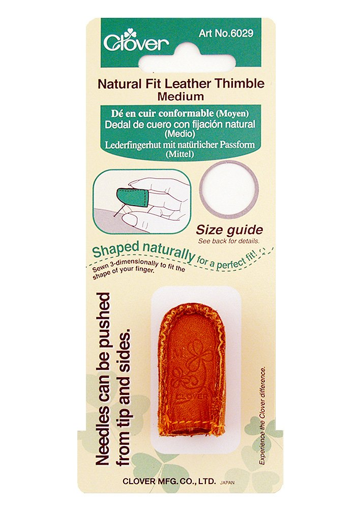 Clover Medium Natural Fit Leather Thimble 6029