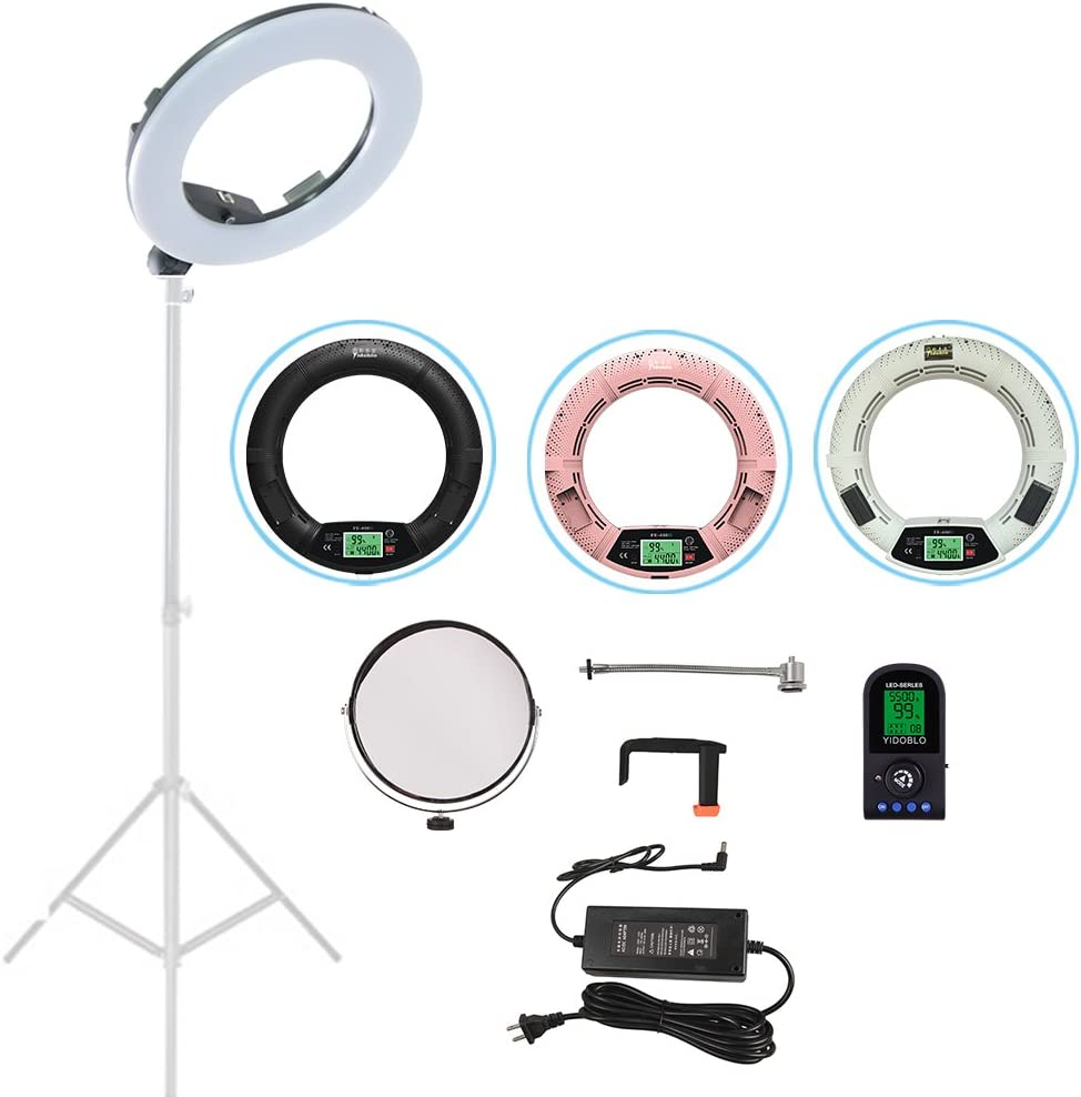 "Yidoblo FE-480 LCD Screen 18"" 96W 480 SMD LED Ring Light Bi-Color 3200K-5500K Camera Photo Studio Video Portrait Photography Continuous Lighting with Wireless Remote, Phone/Camera Holder, Mirror Pink"