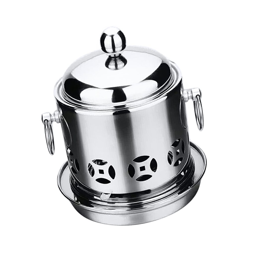 MagiDeal Camping Stove Pot Stainless Steel Hot Pot Backpacking Stove Potable Alcohol Burning Stoves Pot for Picnic Camp Hiking - Silver