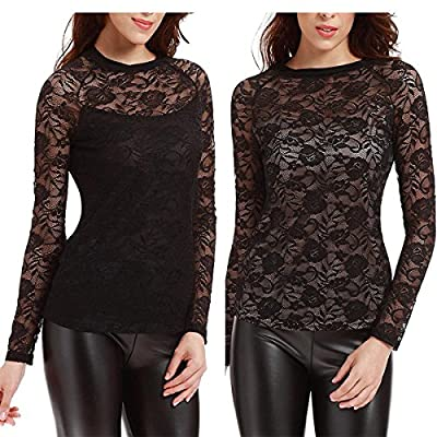 Yulee Women's Floral Lace Long Sleeve Lined Pullover Thermal Top Shirt Blouse