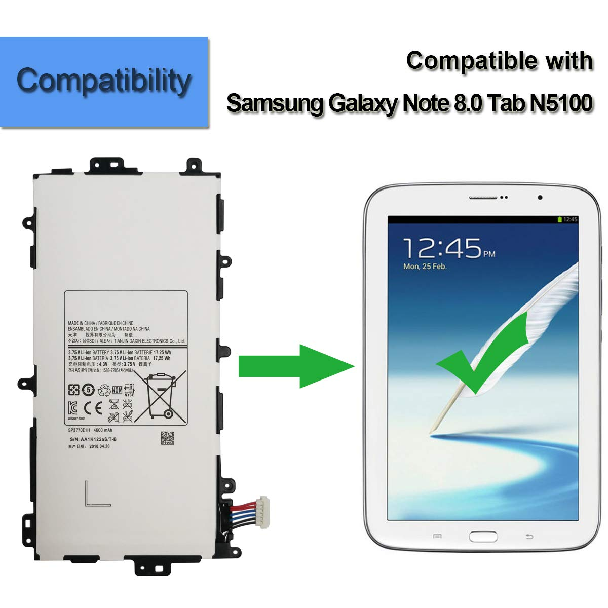 Genuine  Battery For Samsung Galaxy Note 8.0 SP3770E1H GT-N5100 N5110 Tablet PC