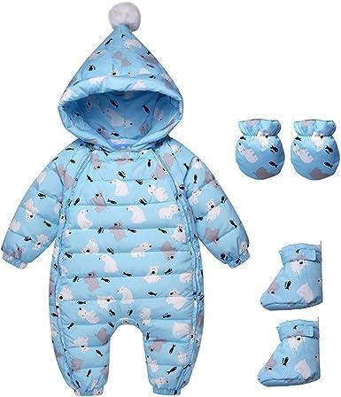 Frío Invierno de Los Mamelucos del Bebé Ropa Niños Pato Abajo Hoodies Ropa Overoles de Algodón Niños Muchachas de Los Muchachos del Mono de Traje para La Nieve: Amazon.es: Ropa y accesorios