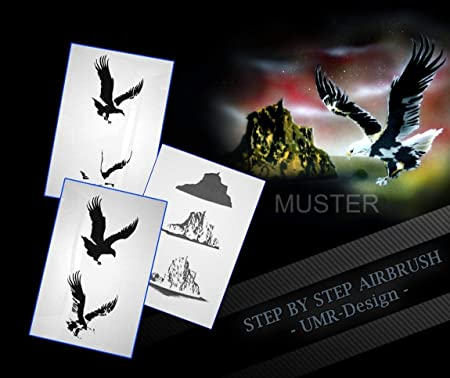 Step by Step Airbrush Stencil AS Eagle in Mountains - 081
