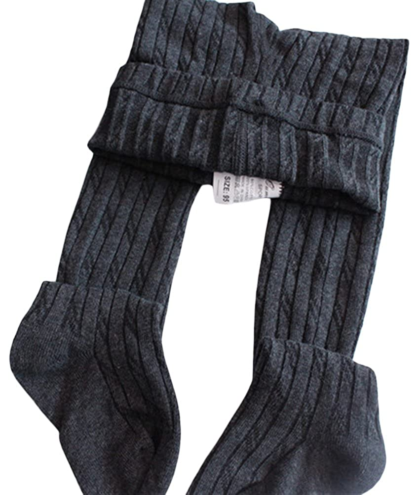 X/&F Little Girls Solid Cable Knit Footed Tights Warm Cotton Stockings
