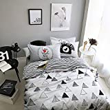 Geometric Duvet Cover Set Twin Size Triangle Printed Striped Duvet Cover Set Reversible Bedding Set, 100% Cotton Adults Kids Students Boys Girls Duvet Quilt Cover With 2 Shams, Hotel Quality