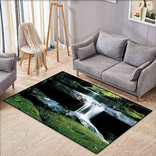 - Non-Slip Rug,Waterfall Decor Collection,Flowing Streams River in Nature Scenery Rocks Trees Pattern,Anti-Static, Water-Repellent Rugs,4'7