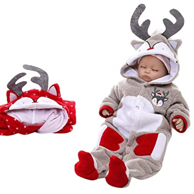 41a266626 Anglewolf Infant Baby Boys Girls Winter Thicker Hooded Romper ...
