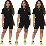 Women's 2 Piece Outfit - Casual Solid color T-Shirts Workout Tracksuit Bodycon Pants Suit Set Jumpsuit Rompers