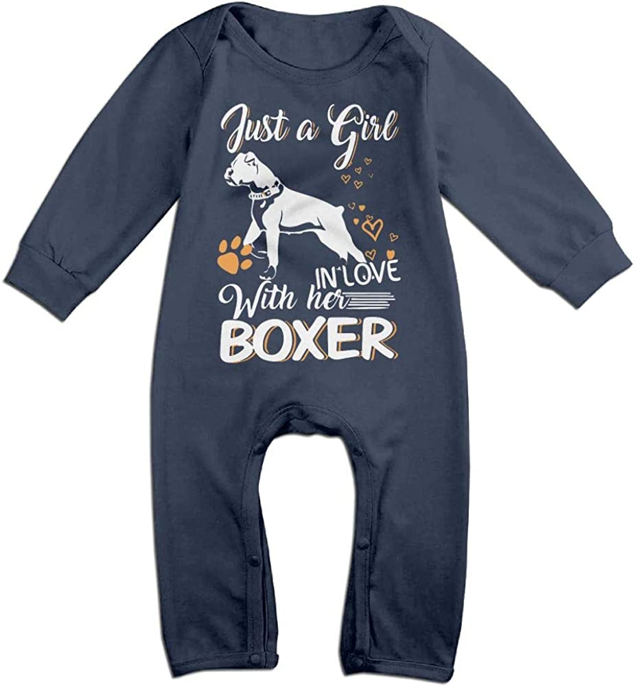 1 Love Boxer Dog2 Printed Newborn Baby Boy Girl Bodysuit Long Sleeve Rompers White