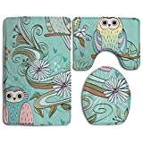 Owl Animal 3 Piece Comfort Bathroom Rugs Set Shaggy Easy Care Bath Shower Mat U-shaped Lid Toilet Floor