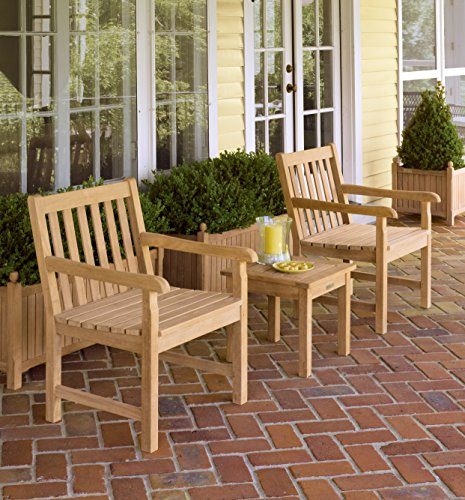 Oxford Garden 3 Piece Classic Shorea Chat Set with End Table, Natural