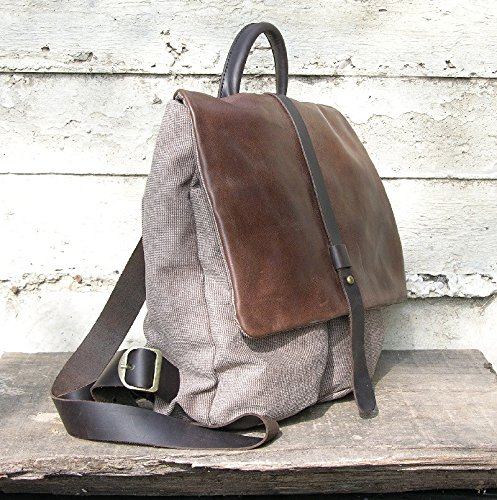 Backpack Rucksack Canvas Backpack with Leather, day pack, cabin bag by Ruth Kraus