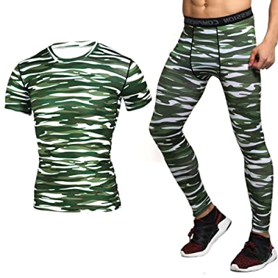 1Bests Men's Running Fitness Camouflage Compression T-Shirt Set Short Sleeve T-Shirt + Trousers