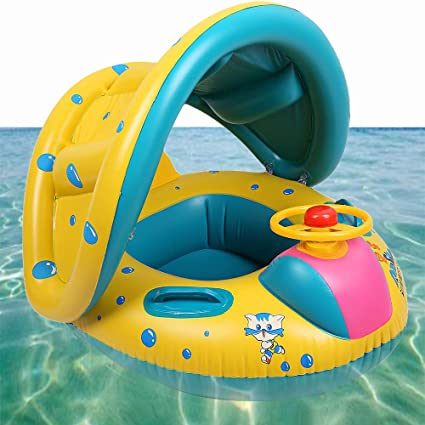 Mint Baby Infant Swimming Pool Float with Canopy, Inflatable Swim Seat  Float Boat Suitable for 16-36 Month Old Kids Children Floating Toys