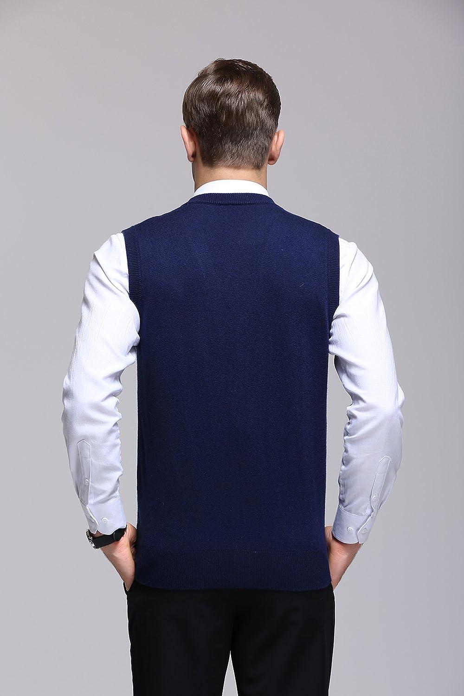 FULIER Mens Winter Wool V-Neck Gilet Sleeveless Vest Casual Gentleman Knitwear Cardigans Knitted Sweater Tank Tops