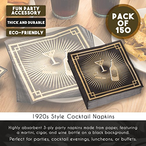 Cocktail Napkins - 150-Pack Luncheon Napkins, Disposable Paper Napkins 1920s Party Supplies, 3-Ply, Roaring 20s Themed Birthdays, Unfolded 13 x 13 inches, Folded 6.5 x 6.5 inches