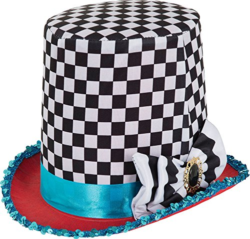 Adult Halloween Fairy Tale Fancy Dress Party Stovepipe Mad Hatter Chequered Hat (Mad Hatter Fancy Dress)