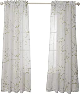 MYSKY HOME Leaves Fashion Design Print Striped White Sheer Curtains with Rod Pocket for Bedroom, 52 by 84 inch, Green, 2 Curtain Panels
