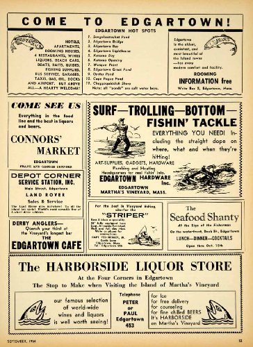 1964-ad-edgartown-fishing-ads-harborside-liquor-connors-market-cafe-striper-original-print-ad