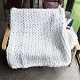 Washable Chunky Blanket, Arm Knitted Throw Blanket, Chunky Blanket, Bulky,Super Knitted Blanket, Chunky Knits, Fireplace Blanket (Baby: 50×100 cm, White) For Sale