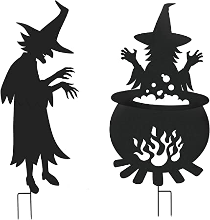 Amazon Com Evergreen Garden Beautiful Decorative Laser Cut Metal 2 Piece Witches Around A Cauldron Yard Scene 49 X 1 X 56 Inches Fade And Weather Resistant Indoor Outdoor Decoration Garden Outdoor