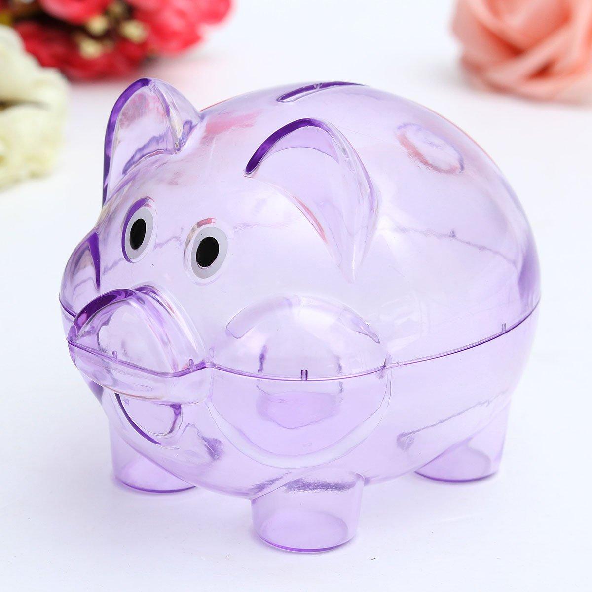 Children Kids Baby Portable Cute Plastic Pig Clear Piggy Bank Coins Box Storage Box Money Saving Case Toy Gift Buckdirect Worldwide Ltd.