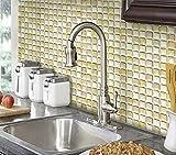 Beaustile Beige Mosaic 3D Wall Stickers 2 Sheets Home Decor Art Fire Retardant Backsplash Wallpaper Bathroom Kitchen DIY