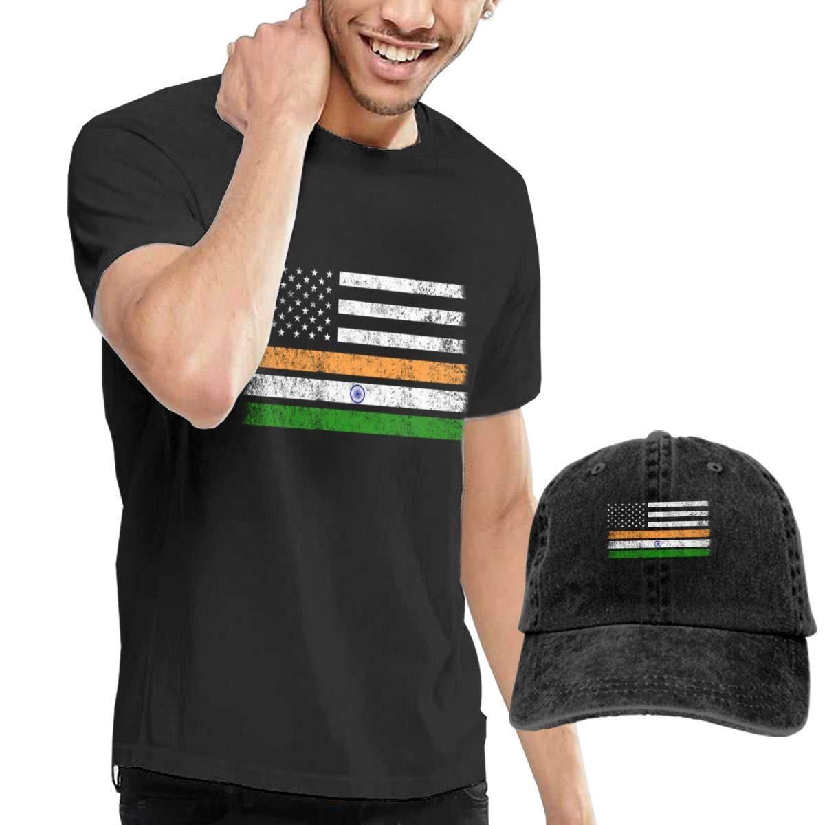 QQWBB American Flag India Flag Shirts Short Sleeve Denim Hat Mens