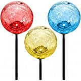 Cracked Glass Solar Garden Stake Lights by Deneve - LED Outdoor Pathway Decorative Fairy Garden Gnome Lawn Ornaments - Color-changing Walkway Lighting Gazing Moonray Balls - 3-Pack!