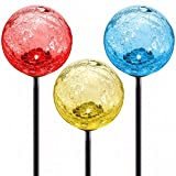 Solar Garden Stake Lights 3-Pack, Cracked Glass LED Outdoor Patio Yard Statue Fairy Fountain Gnome Stained Lawn Sign Decor Ornaments, Color-changing Gazing Moonray Lamp Balls
