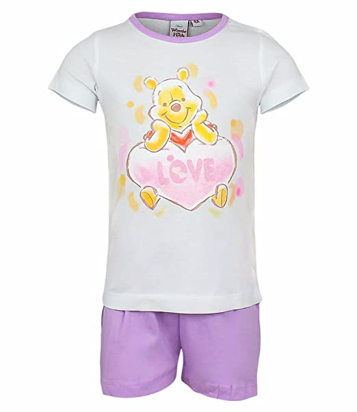 a2c052d7e68a Winnie The Pooh Kids Short Sleeved Pyjama Set White Purple 92cm