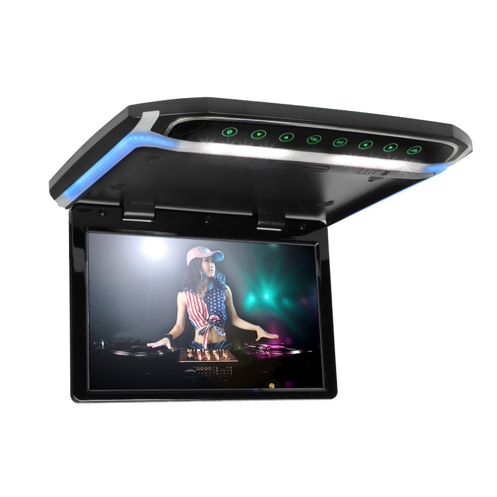 12.1 inch Flip Down Monitor for Car 1080P HD TFT LCD Car Roof Mount Monitor Ultra Thin Overhead Video Player HDMI SD MP3 MP4 Player with LED Back-lit Button and Ambient Light (CL1201HD-Black)