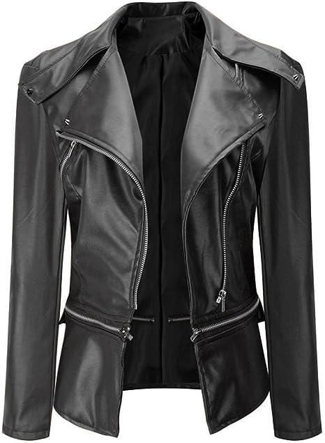 Ladies Biker Jacket faux leather coat casual motorcycle bomber vintage look zip