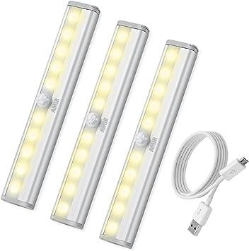 AMIR Sensor de Movimiento Luz de la Barra, 10 LED Sensor de Armario Ligero, Portátil Recargable LED Luz de Noche, Armario con Palo-En la Tira Magnética para Armario Armario, Escaleras, Cajón, Navidad: