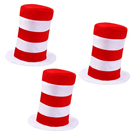URATOT Top Hat Costume Red and White Average Size for Cosplay Party Halloween Costume Accessory