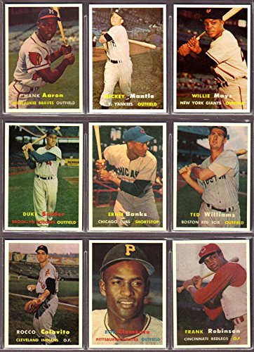 1957 Topps Baseball Reprint (9) Card Lot #4 (Mickey Mantle) (Willie Mays) (Hank Aaron) (Duke Snider) (Ernie Banks) (Ted Williams) (Rocco Colavito) (Roberto Clemente) (Frank Robinson RC) (Mickey Williams Mantle Ted)