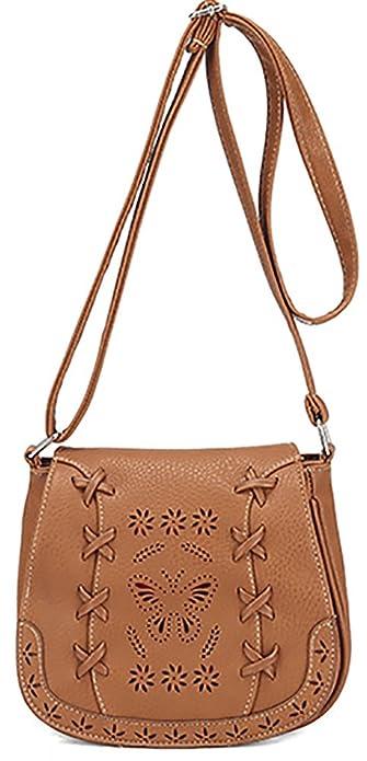 5817ebf0a91b Amazon.com  Women s PU Sanddle Bag Hobo Crossbody Shoulder Bag Cute Purse  with Hollow Lacing Black  Shoes
