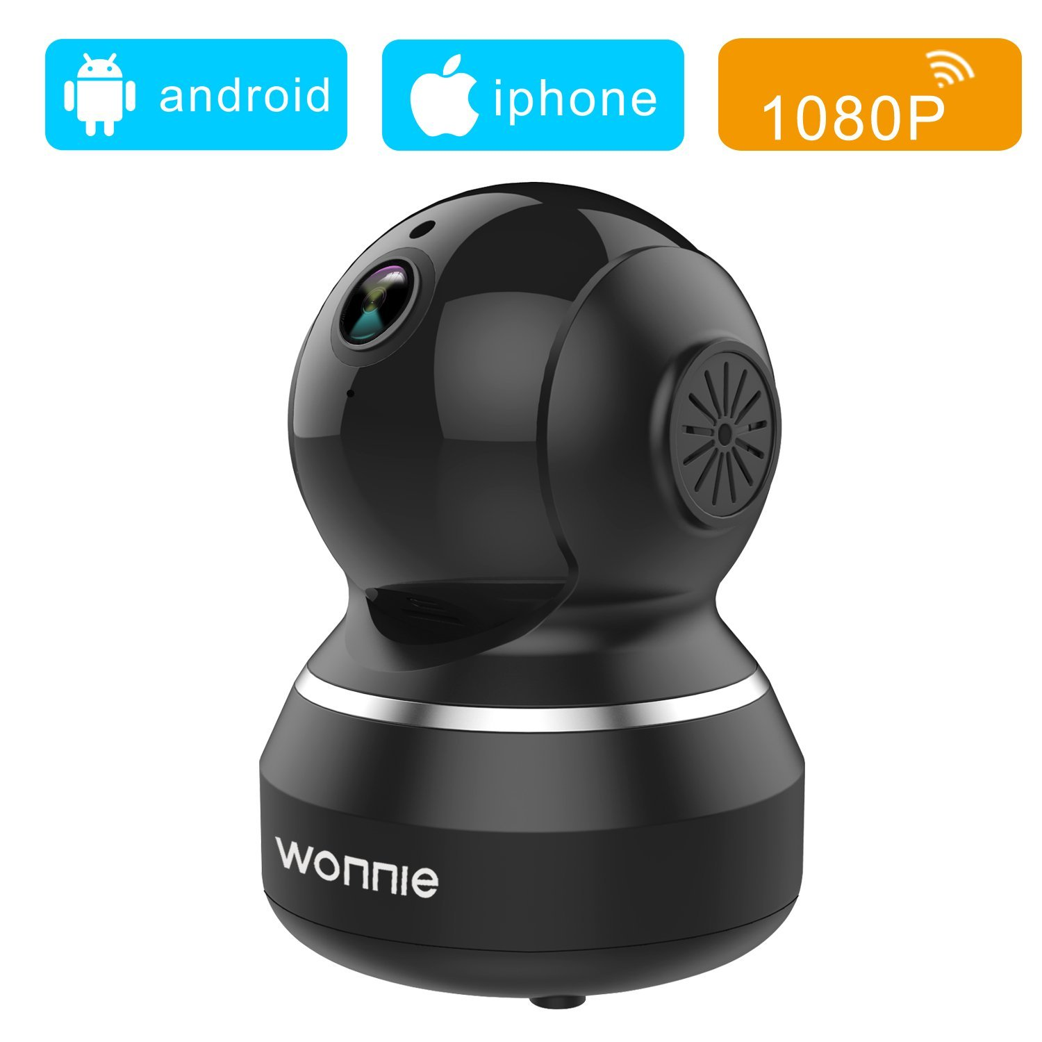 WONNIE 1080P HD WiFi IP Camera Wireless Indoor Camera with 2-Way Audio, Night Vision and Motion Detection, Home Security Surveillance Pan/Tilt/Zoom Monitor for Baby/Elder/Pet (Black)