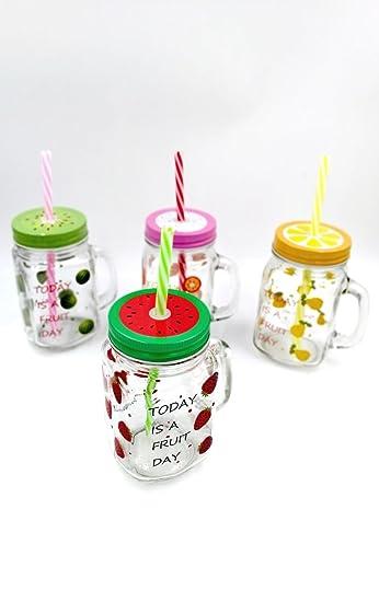 Pack Of 4 Fruit Theme Mason Jars For Birthday Return Gifts