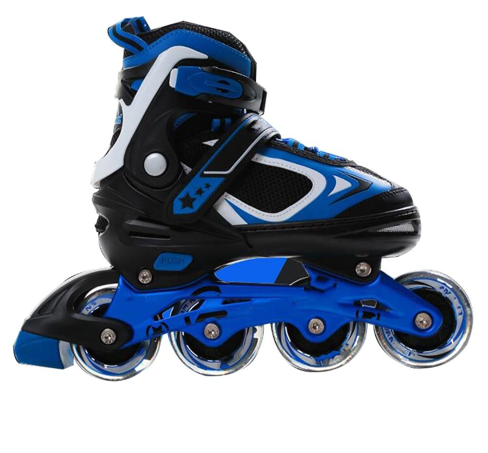 Inline Skates Adjustable PP Material PU wheels ABEC-7 Blue , blue , m