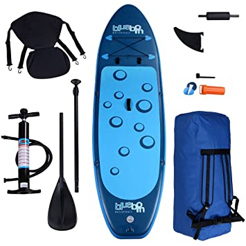 Blueborn SUP Traveller Blue 305x77x11cm, Stand Up Paddle Board Set incl. remo, asiento de kayak, reposapiés, ...