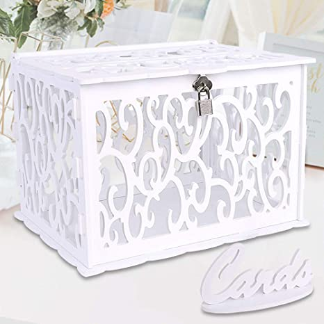 OurWarm White Wedding Card Box with Lock and Card Sign PVC Hollow Gift Card  Box for Wedding Reception Birthday Baby Shower Graduation Party