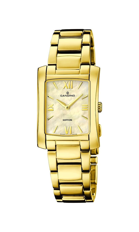 Candino Damen Quarzuhr mit Mutter von Pearl Zifferblatt Analog-Anzeige und Gold Edelstahl vergoldet Armband C4557-