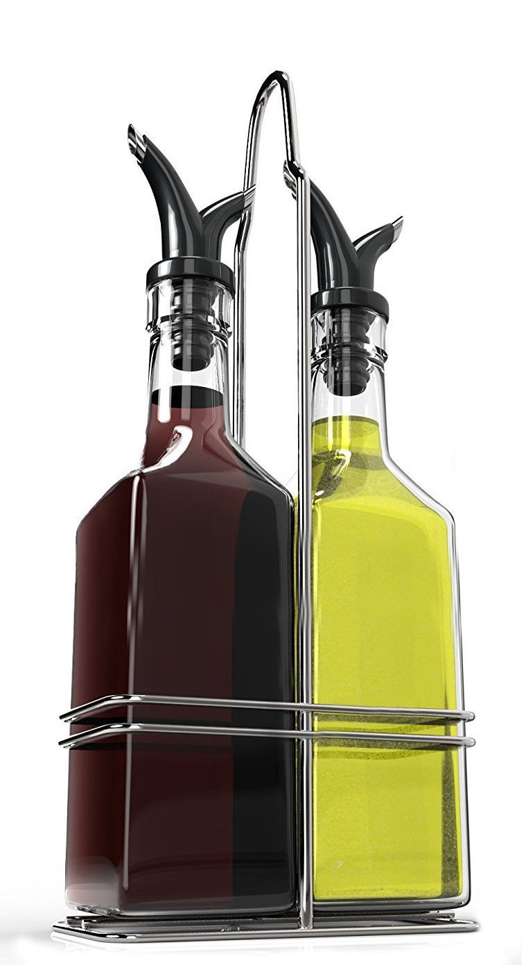 Royal Oil and Vinegar Bottle Set with Stainless Steel Rack and Removable Cork – Dual Olive Oil Spout – Olive Oil Dispenser, Olive Oil Bottle and Vinegar Bottle Glass Set - 5oz