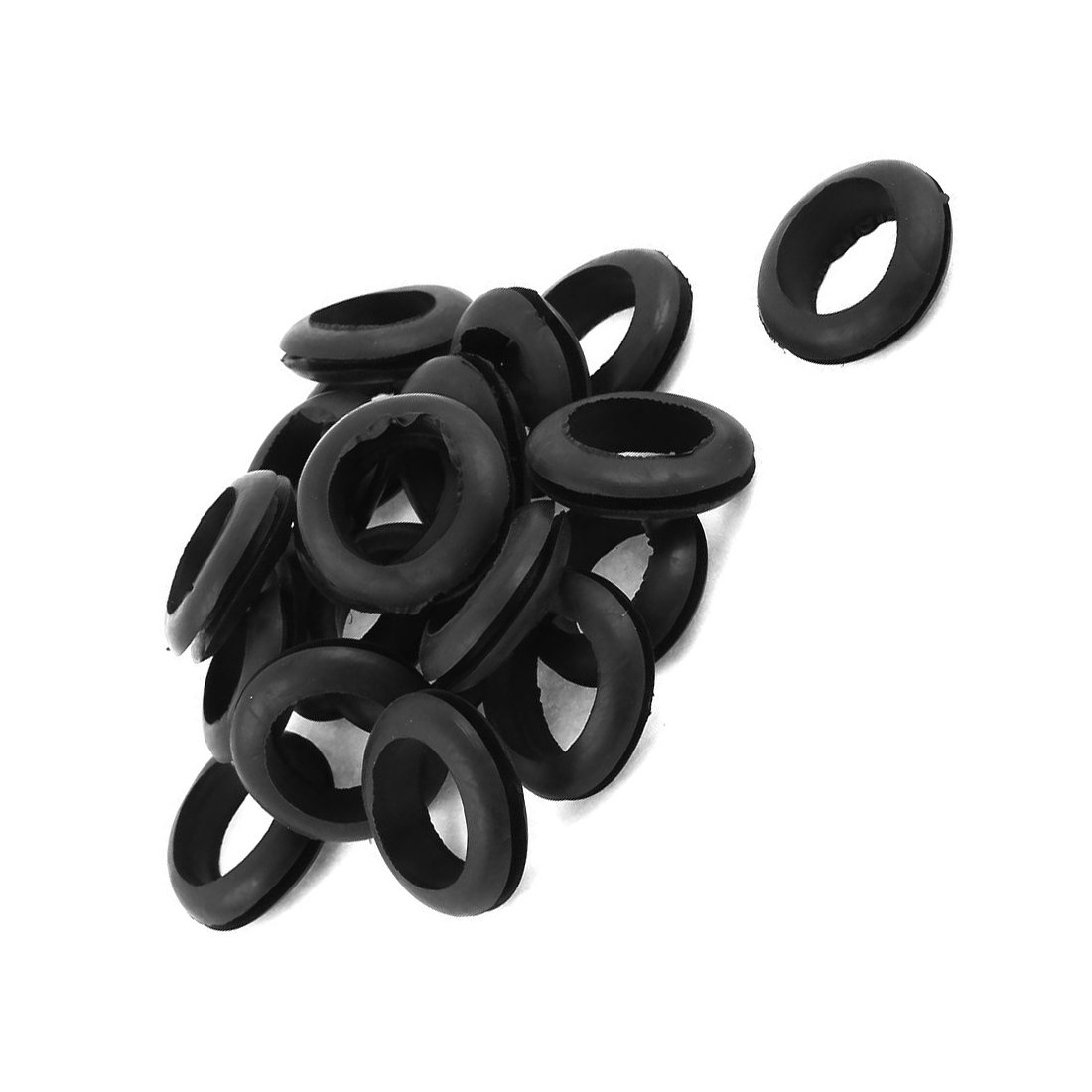 Moligh doll 20 x schwarz 20mm Loch Ring doppelseitig Gummituellen Kabel Durchfuehrung