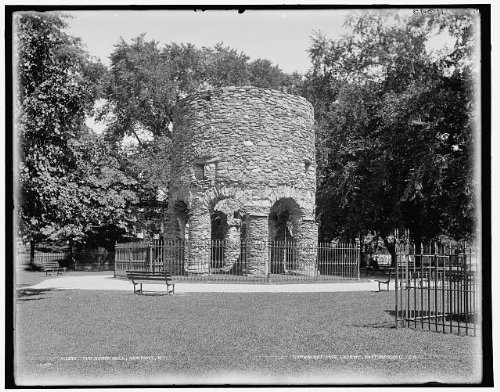 Photo: Old stone mill,towers,ruins,parks,paths,benches,Newport,Rhode - In Ri Newport Shopping