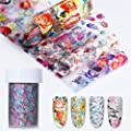 NICOLE DIARY Holographic Nail Foil Colorful Flower Manicure Nail Art Transfer Sticker 9 Rolls 4x100cm