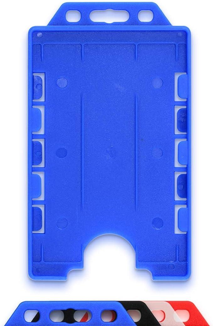 con doppia faccia in lega di alluminio formato CR80 Porta badge per due carte di credito Single 1pc Argento orizzontale dimensioni interne 86 x 54 mm LanyardsTomorrow